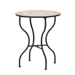 Gartentisch Finca - Eisen/Keramik - Schwarz/Mosaik - Durchmesser: 60 cm
