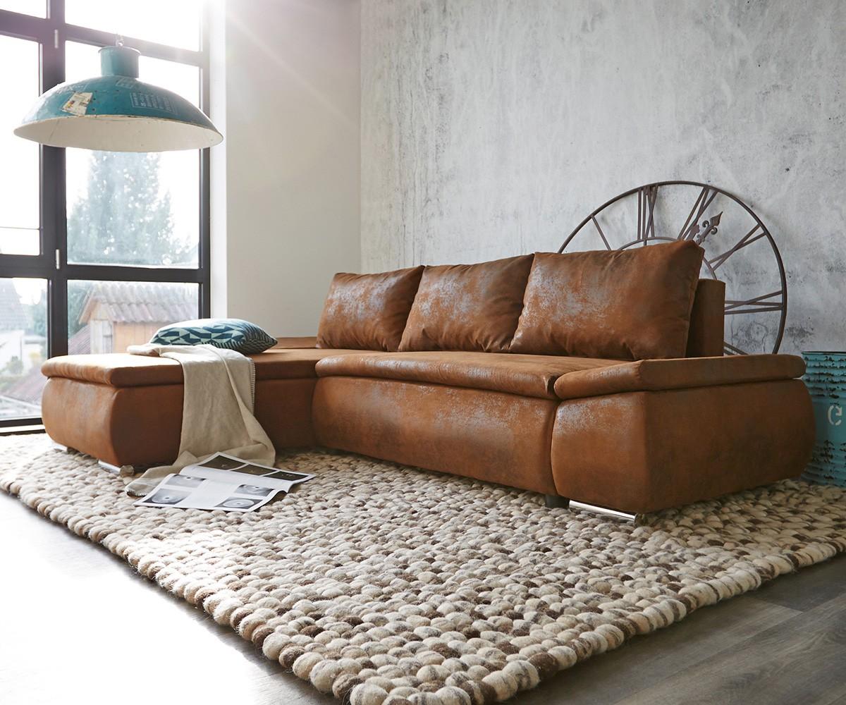 Couch Abilene Braun 260x175 mit Bettfunktion Ottomane