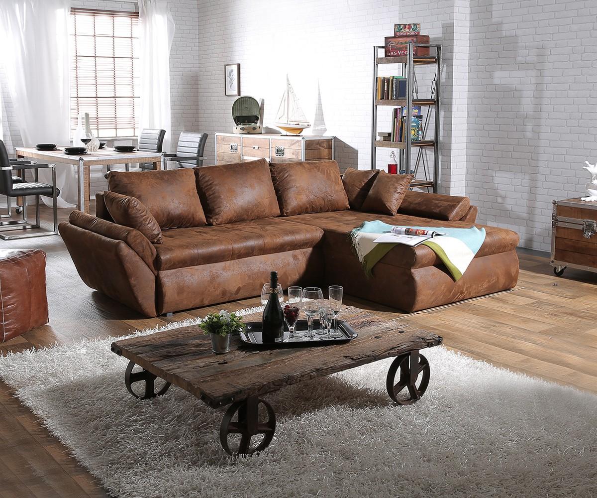 Couch Loana Braun 275x185 cm Ecksofa Schlaffunktion