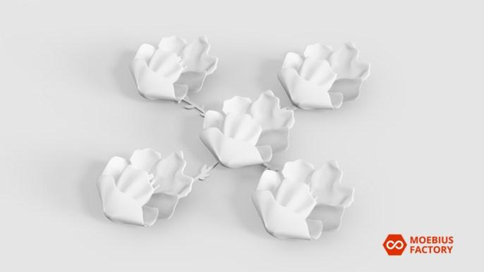 Principe de fixation d'un groupe de fleurs imprimées en 3D