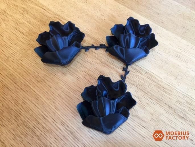 Photo des prototypes de fleurs imprimées en 3D