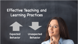 Teacher in front of chalkboard.  Effective Teaching and Learning Practices is written on board. Expected Behavior is displayed with an up arrow, while Unexpected behavior is displayed with a down arrow.