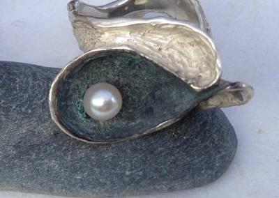 ANELLO FLUIDITA' (argento con perla 3)