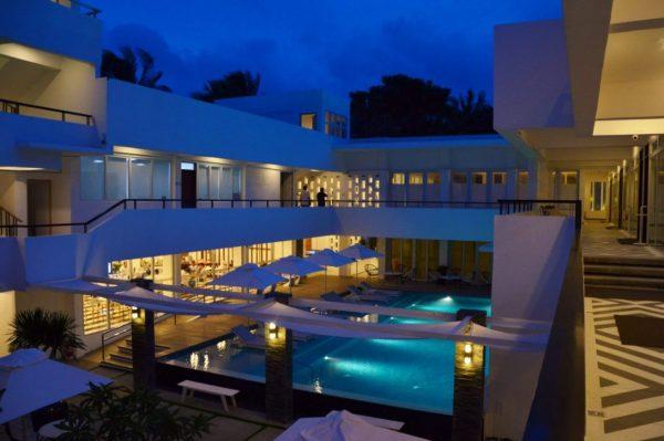 Coast hotel pool at night