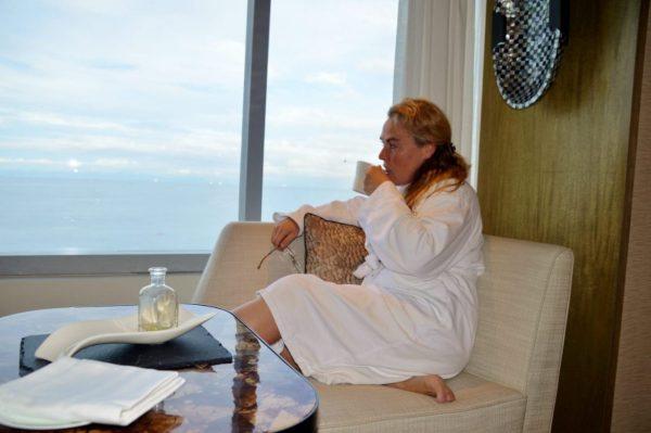 Drinking coffee overlooking Manila Bay