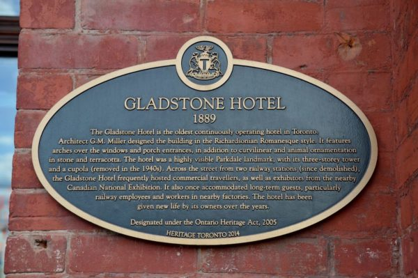 The Gladstone Hotel plaque from 1889
