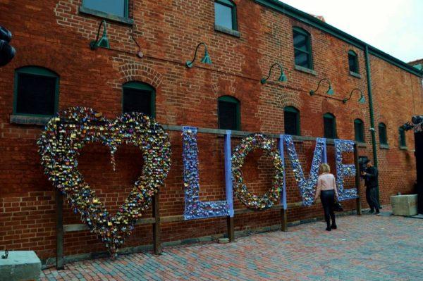 Love locks art display