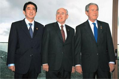Prime Minister Shinzo Abe with President George W. Bush and Prime Minister John Howard in Sydney, September 8 2007