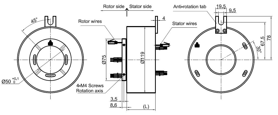 MOFLON Ethernet Slip Rings,1*1000M Slip Rings,ME2501-P0410