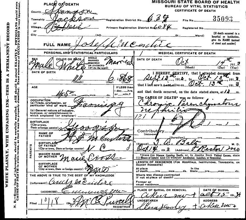 1913 Shannon County Death Certif