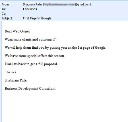 Yet another annoying SEO email