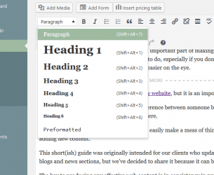 Adding headings in WordPress