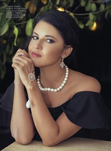 Dress, Ralph Lauren, Timinis boutique; necklace, Iordanis Jewelry; earrings, StyleAvenue, Telezo Jewellery boutique.