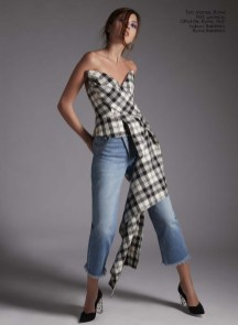 Top, Monse, First boutique; jeans, Offwhite, First boutique; shoes, Baldinini, Baldinini boutique