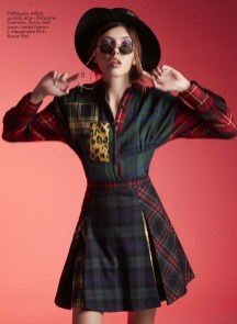 Shirt, skirt, hat, all - Ermanno Scervino, First boutique; sunglasses, Linda Farrow x Alessandra Rich, First boutique