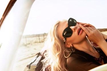 Blouse, No.21, Creme Noir boutique; necklace, earrings, all - Rada, Creme Noir boutique; brassiere, Lise Charmel, Femme-Femme boutique; glasses, Dolce & Gabbana, Ioannou Optical House.