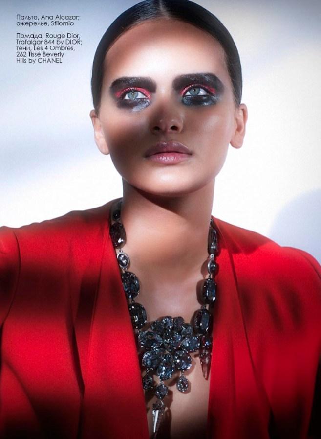 Coat, Ana Alcazar; necklace, Stilomio Lipstick, Rouge Dior, Trafalgar 844 by Dior; shadows, Les 4 Ombres, 262 Tisse Beverly Hills by Chanel