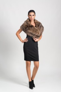 Collar, brown sable (natural color), Malimo; dress, Marc Cain, booties, Baldinini; earrings, stylist's own.