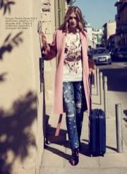 Coat, Prada, KUL-T boutique; tshirt, jeans, ankle boots, все - Dolce & Gabbana, KUL-T boutique; suitcase, BG Berlin.