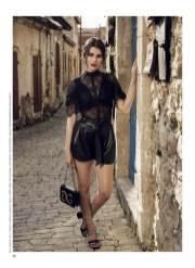 Top, shorts, all - Guess, Guess shop; earrings, Mitsu Mitsu; shoes, Tory Burch, Timinis boutique; bag, Dolce&Gabbana, KUL-T boutique