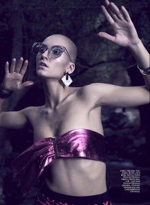 Skirt, Michael Kors, Timinis boutique; glasses, Linda Farrow, Classy&Fabulous boutique; earrings, bracelets, all - Classy&Fabulous boutique; belt, worn as a top, stylist's own