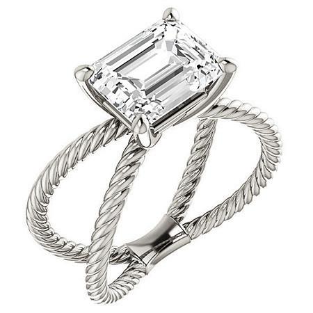 Emerald/Radiant Moissanite Split Shank Rope Engagement
