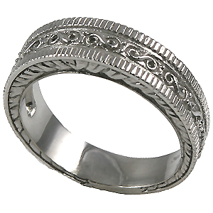 14k Gold Mens Antique Fancy Wedding Band Ring Moissanite