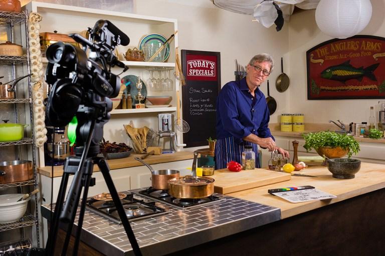 Food Over 50 host David Jackson on set preparing healthy recipes.