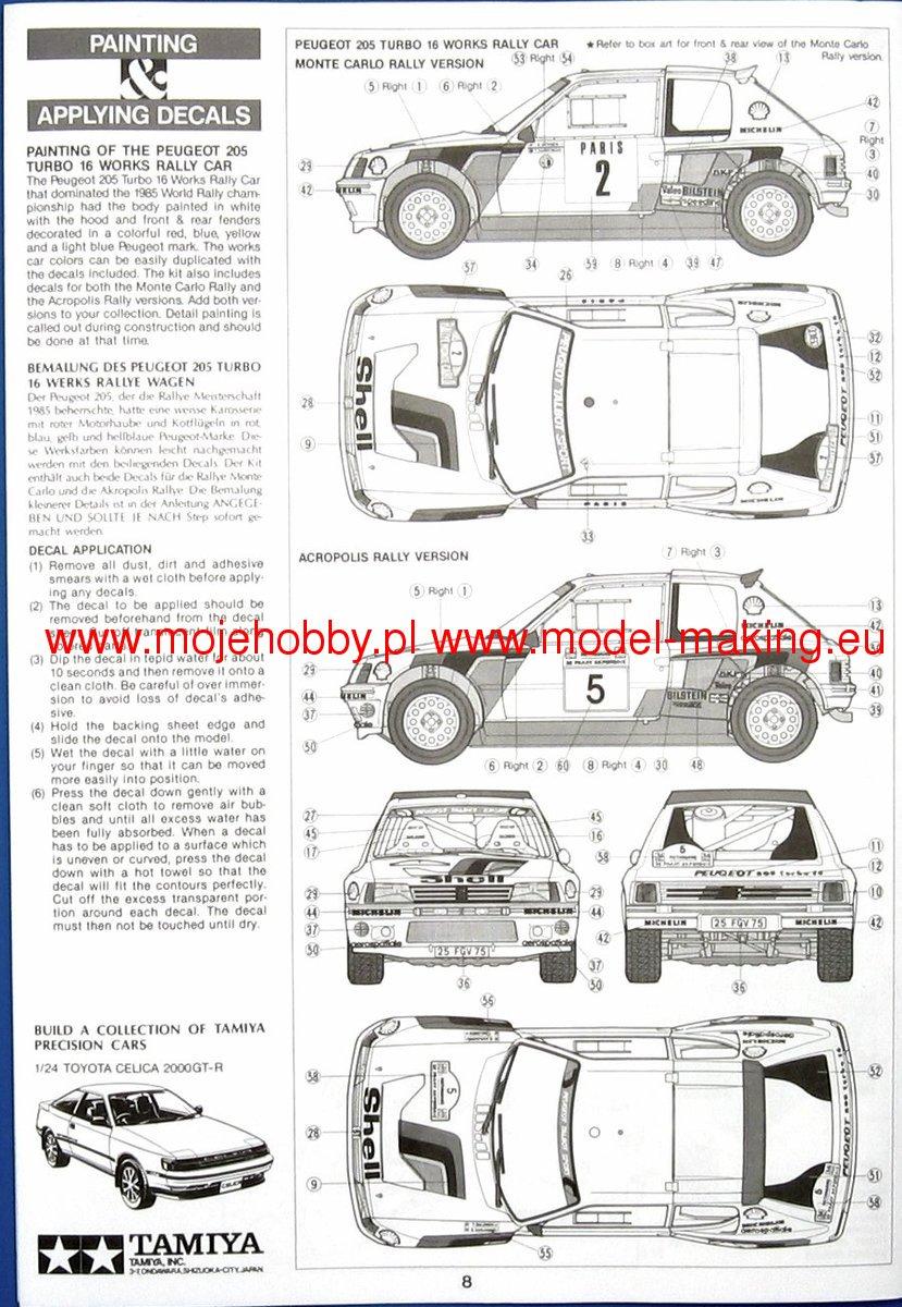 PEUGEOT 205 TURBO model do sklejania Tamiya 24054