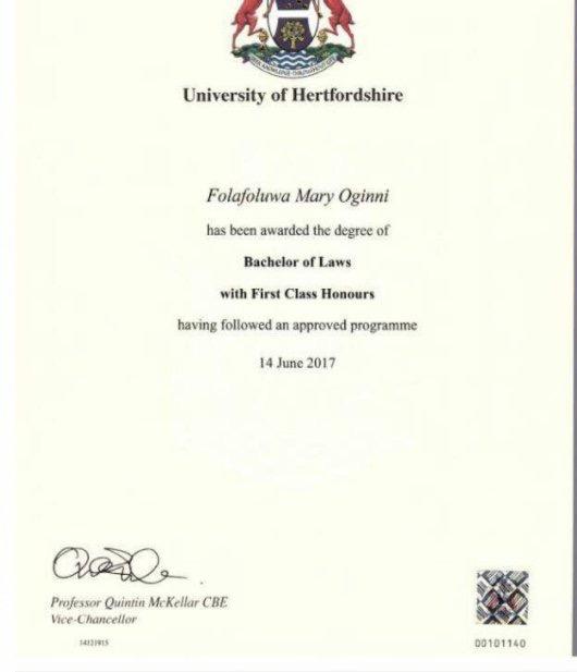 Nigerian Lady Breaks Hertfordshire University Record