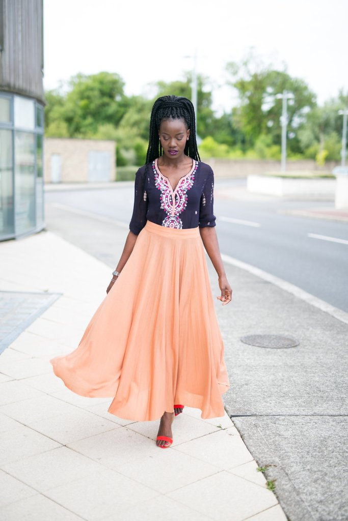Peach_maxi_skirt_and_embellished_tunic
