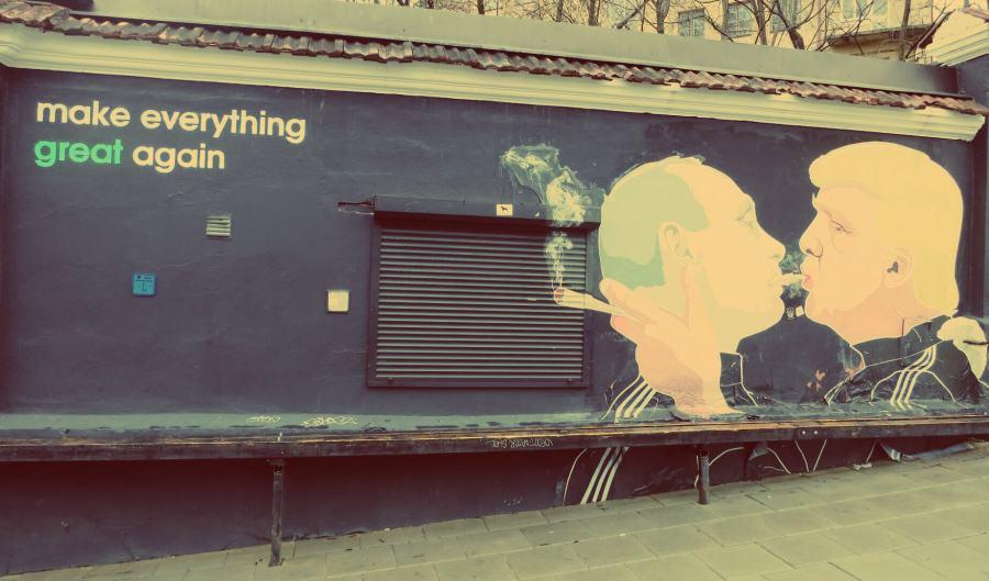 WWeltbekanntes Street Art-Kunstwerk in Vilnius