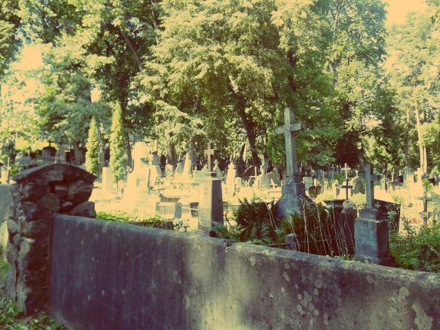 Verwunschener Friedhof in Vilnius im Sommer