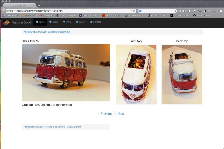 screen shot of web page featuring margaret dodds ceramic piece club car