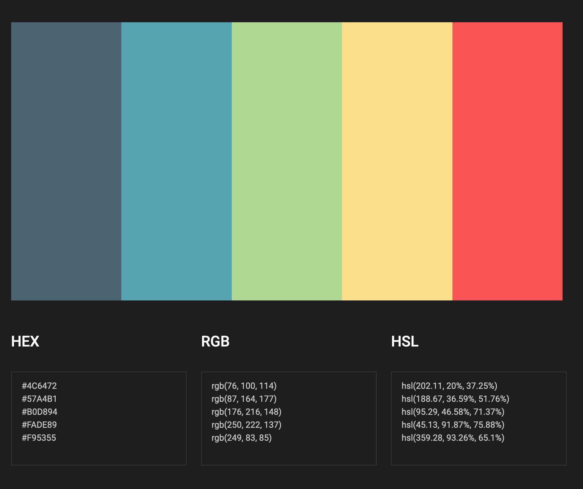 complimentary color palette