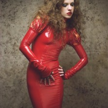 Latex modeling hair and make up photographer mojokiss in tampa and st petersburg in studio with cloth backdrop