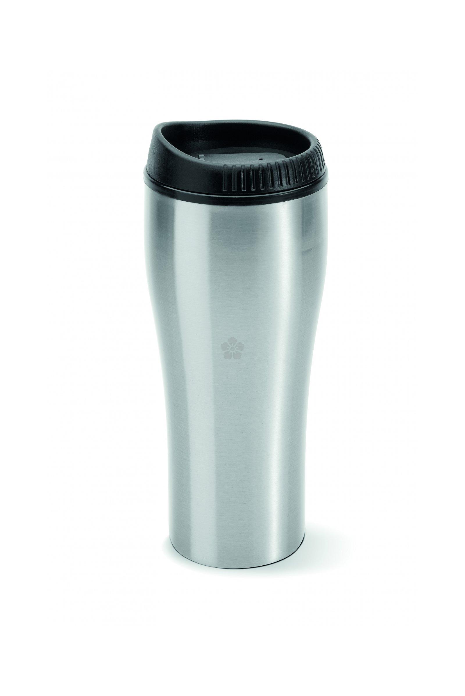 large metal travel mug