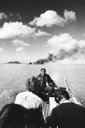 Mokauea Island burning