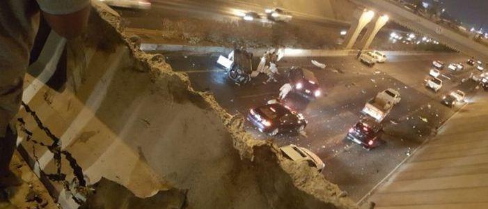 بالصور.. سقوط سيارة من أعلى «دوار عروة» بالمدينة بسبب السرعة الجنونية