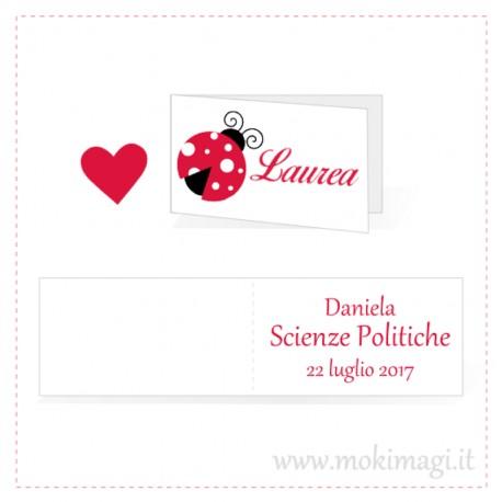 Bigliettino Laurea con coccinella personalizzato con nome e data