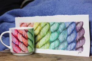 Rainbow knitting wool yarn mug by Artemie with original aquarelle