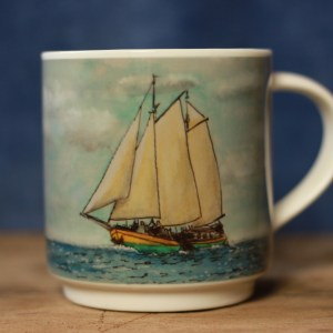 Clipper Kaat Mossel aquarelle mug by ArteMie