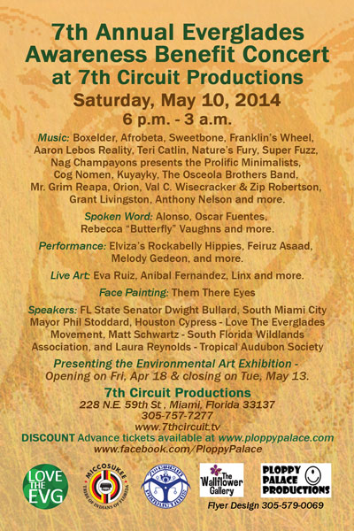7th Annual Everglades Awareness Benefit Concert and Environmental Arts Exhibit kayakfari awakenthegrass decoratedreality