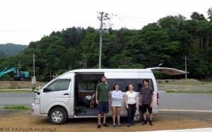 Rob, me, Jacqui and Endo after field work at Mangoku-ura