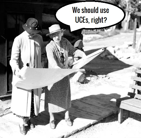 MARY COLTER (R) SHOWING BLUEPRINT TO MRS ICKES (WIFE OF SECRETARY OF INTERIOR) CIRCA 1935. NPS.