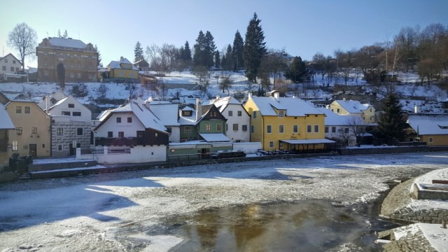 Beautiful Cesky Krumlov in snow