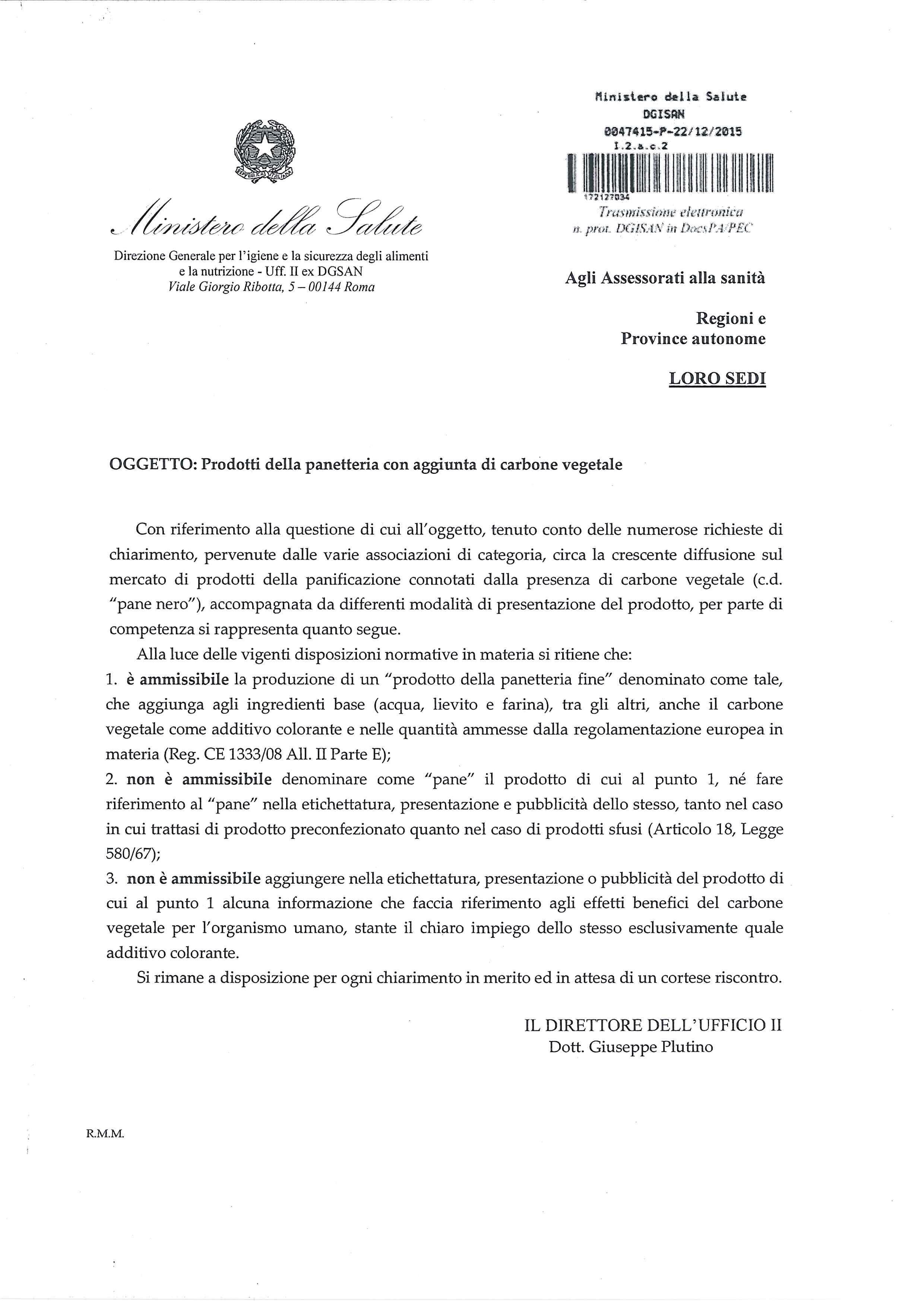 Nota Ministero della Salute n 47415  Molini Spigadoro