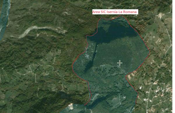 i confini dell'area SIC della Romana