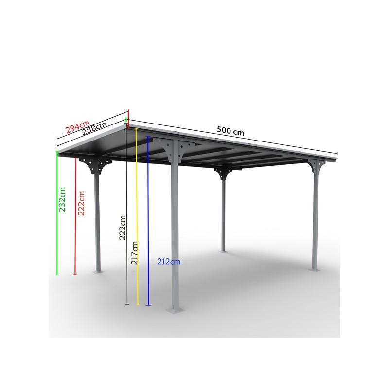 Tettoia in alluminio e policarbonato 294x500x232 h CARPORT 3050   FORESTA CAR 3050 ALTP