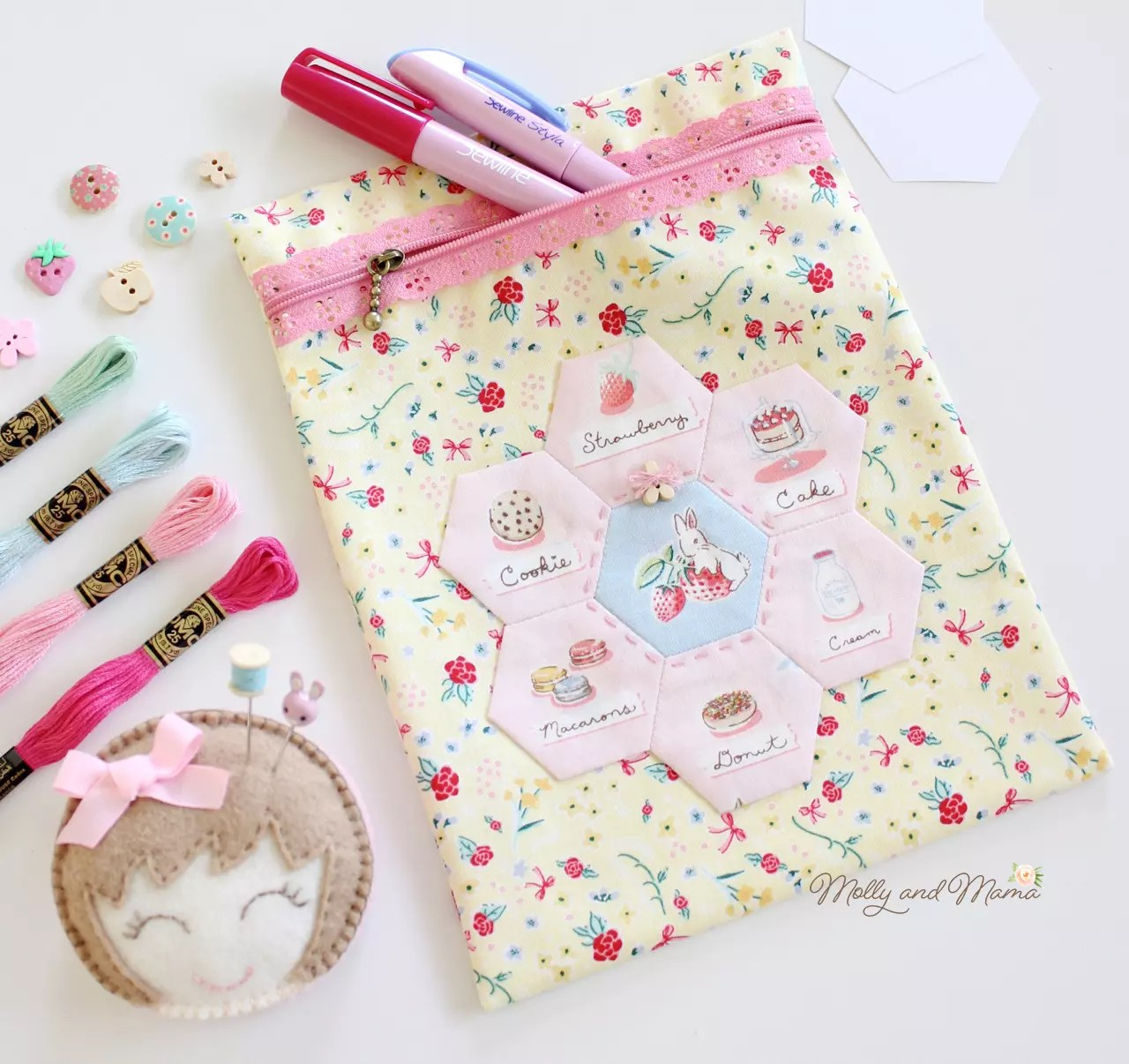Make a Lace Zipper Pouch with a Hexagon Flower - Molly and Mama